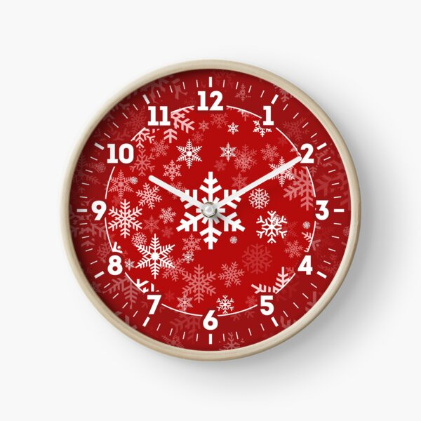 Snowflakes Pattern in Red Clock