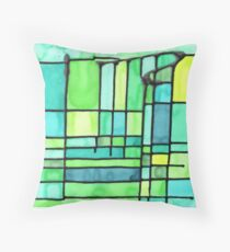 Green Frank Lloyd Wright Stained Glass Throw Pillow