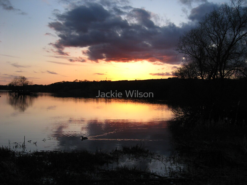 Linlithgow Loch at sunset by Jackie Wilson