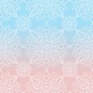 Pastel Dreams Mandala on Blue and Pink Linen by Kelly Dietrich
