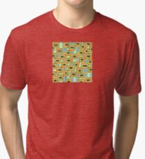 Connected Rectangle Shapes with Vertical Stripes Pattern  Tri-blend T-Shirt