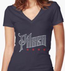 Pilsen Neighborhood Tee (Dark) Women's Fitted V-Neck T-Shirt