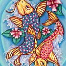 Koi Fish Jellybean Pond Drawing by moonphiredesign