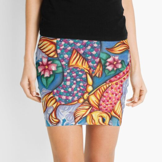 Koi Fish Jellybean Pond Drawing Mini Skirt