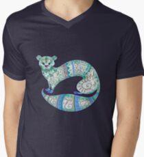 fuzzy ferret in greens Men's V-Neck T-Shirt
