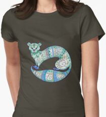 fuzzy ferret in greens Women's Fitted T-Shirt