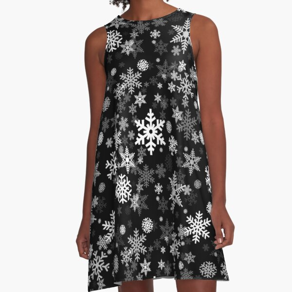 Snowflakes Pattern in Black A-Line Dress