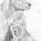 Grizzly Bear and Cub Drawing by MikeJory