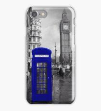 Blue telephone box - London iPhone Case/Skin