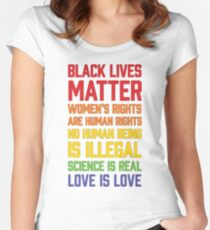 LGBT t shirts - Black Lives Matter Women's Rights Are Human Women's Fitted Scoop T-Shirt