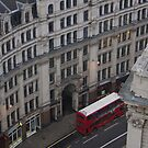 London Skyline in Winter - London Street and Red Bus by seymourpics