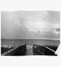 black and white beach path Poster