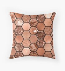 Rose gold hexaglam Throw Pillow