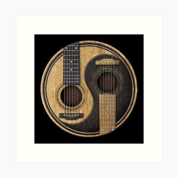 Old and Worn Acoustic Guitars Yin Yang Art Print