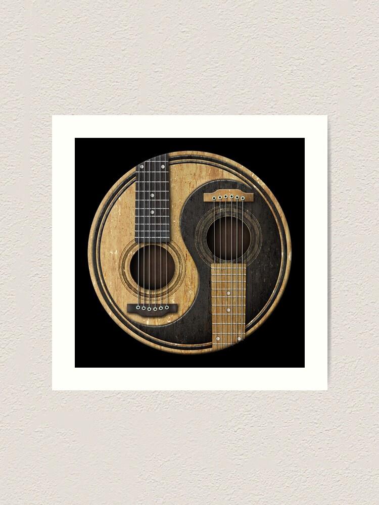 Alternate view of Old and Worn Acoustic Guitars Yin Yang Art Print