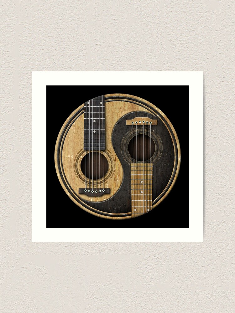 Alternate view of Old and Worn Acoustic Guitars Yin Yang Art Print