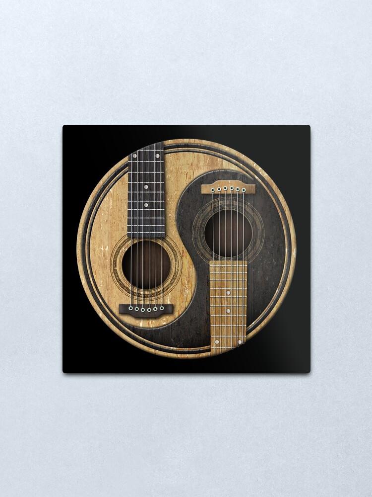 Alternate view of Old and Worn Acoustic Guitars Yin Yang Metal Print