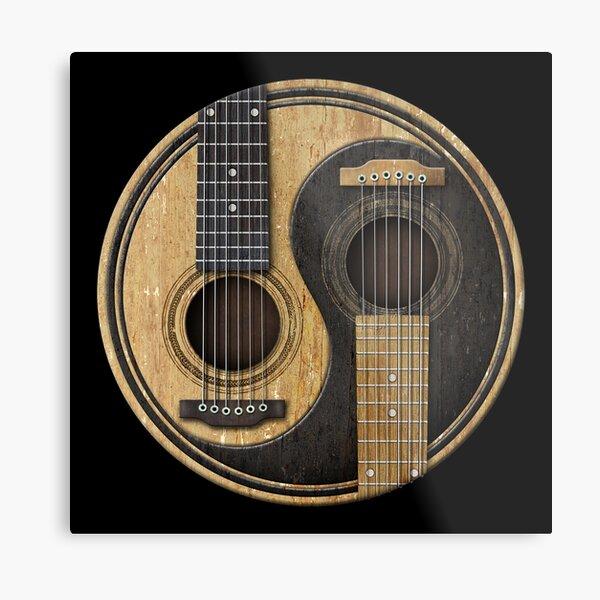 Old and Worn Acoustic Guitars Yin Yang Metal Print