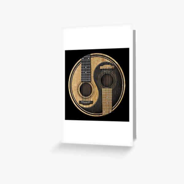 Old and Worn Acoustic Guitars Yin Yang Greeting Card