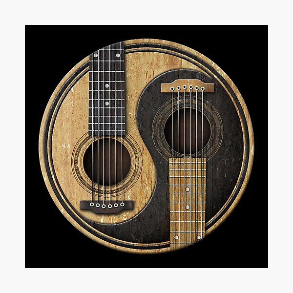 Old and Worn Acoustic Guitars Yin Yang Photographic Print