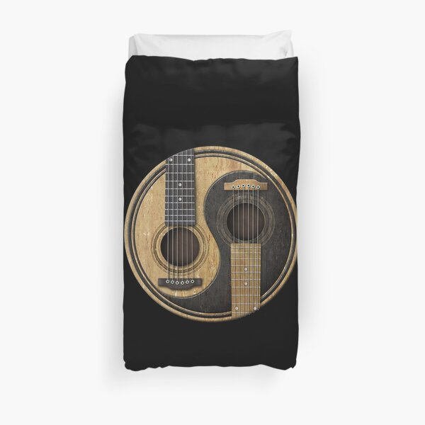 Old and Worn Acoustic Guitars Yin Yang Duvet Cover