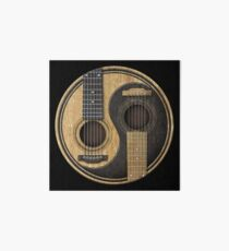Old and Worn Acoustic Guitars Yin Yang Art Board
