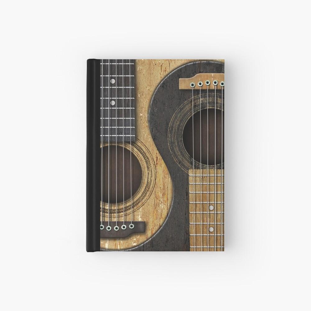 Alte und getragene Akustikgitarren Yin Yang Notizbuch
