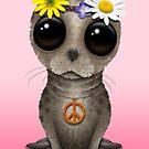 Niedlicher Baby-Dichtungs-Hippie auf Rosa von jeff bartels