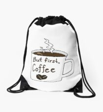 """But First, Coffee"" Mug Drawstring Bag"