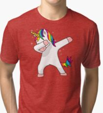 Unicorn Dab Shirt Dabbing Funny Magic Hip Hop T-Shirt For Men, Women, and Kids Tri-blend T-Shirt