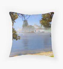 Mist over the boatsheds Throw Pillow