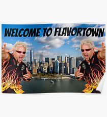 Welcome to Flavortown Guy Fieri New York City Meme Poster
