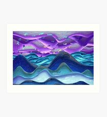 Glowing ocean fishy sky Art Print