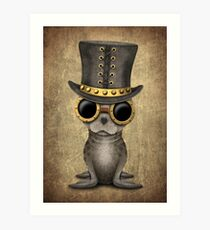 Cute Steampunk Baby Seal Cub Art Print