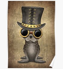 Cute Steampunk Baby Seal Cub Poster