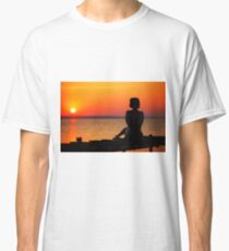 Woman silhouette on a sunset beach, romantic, summer travel poster Classic T-Shirt