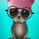 Netter Dichtungs-tragender Pussy-Hut und Gläser von jeff bartels