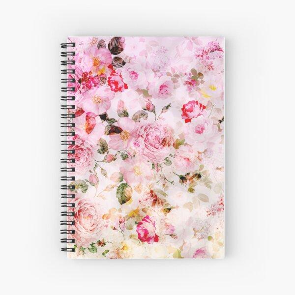 Vintage pink pastel watercolor floral pattern Spiral Notebook