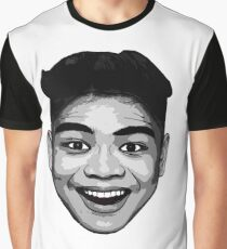 LeoVeo Cartoon  (Face Only) - Black and White Graphic T-Shirt