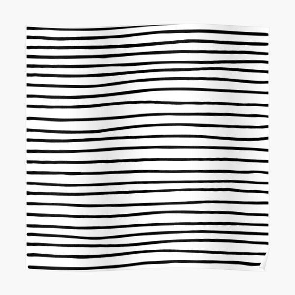 Modern simple trendy black white striped pattern Poster