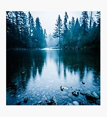 Forest Mountain Fog - Blue Lake Reflection Photographic Print