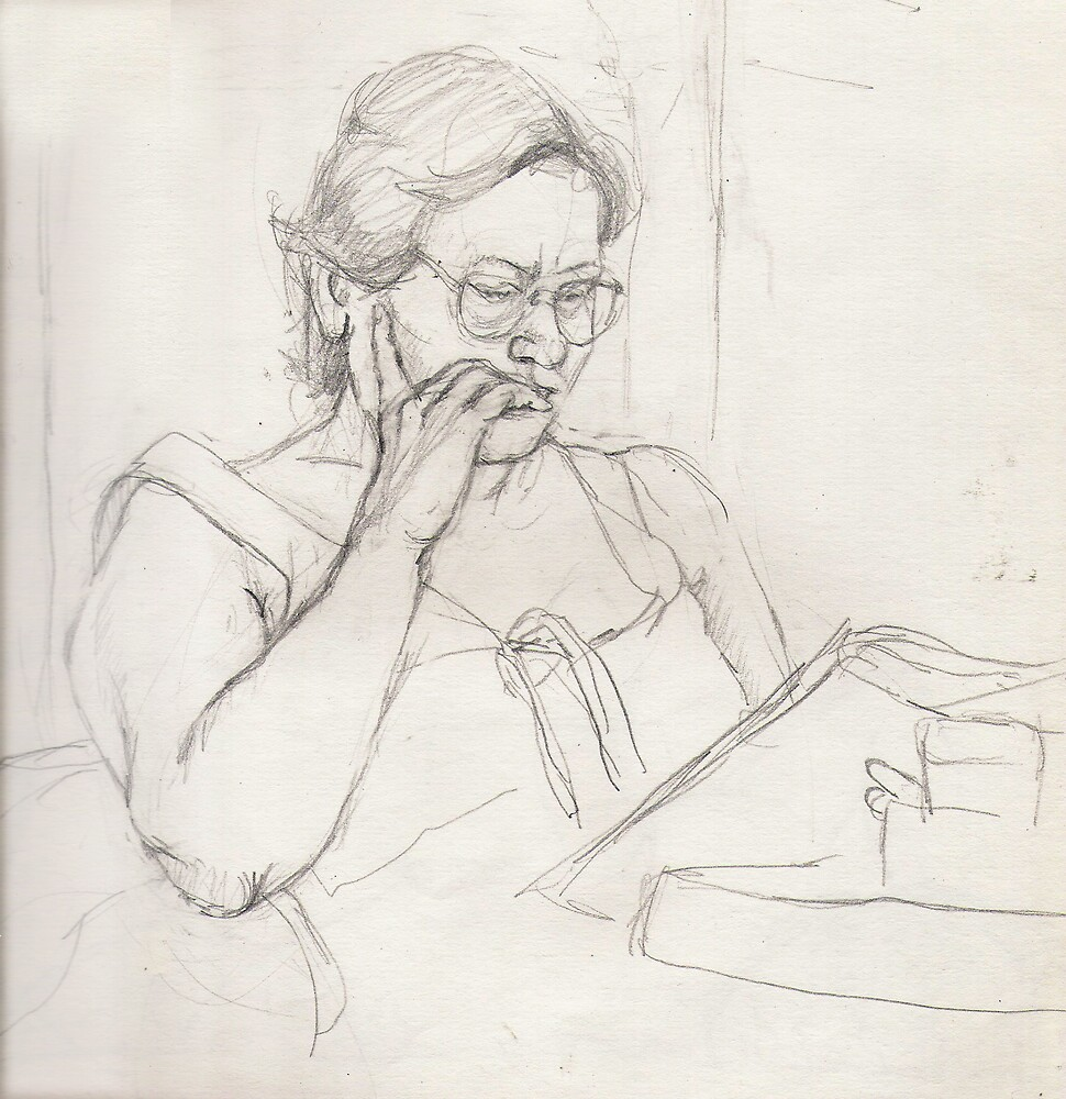 Woman reading on the train by Fiona O'Beirne