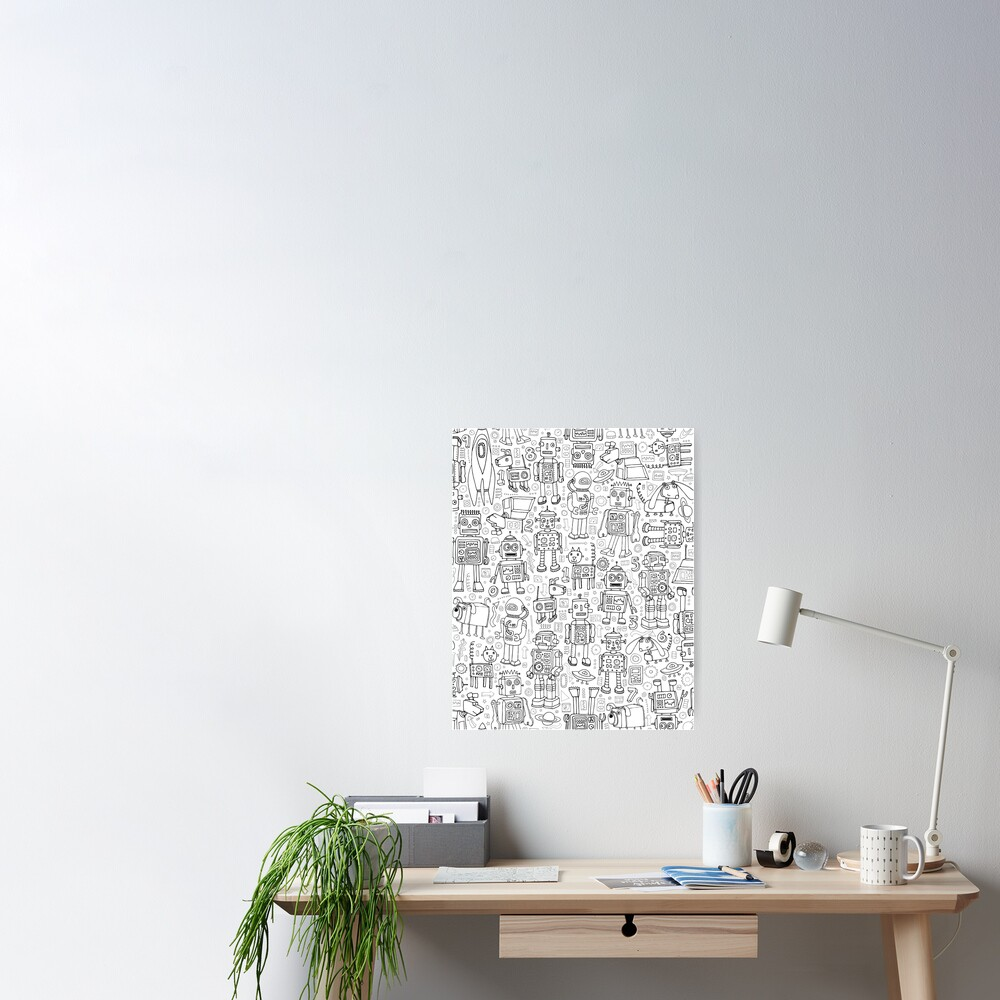 Robot pattern - black and white - fun pattern by Cecca Designs Poster