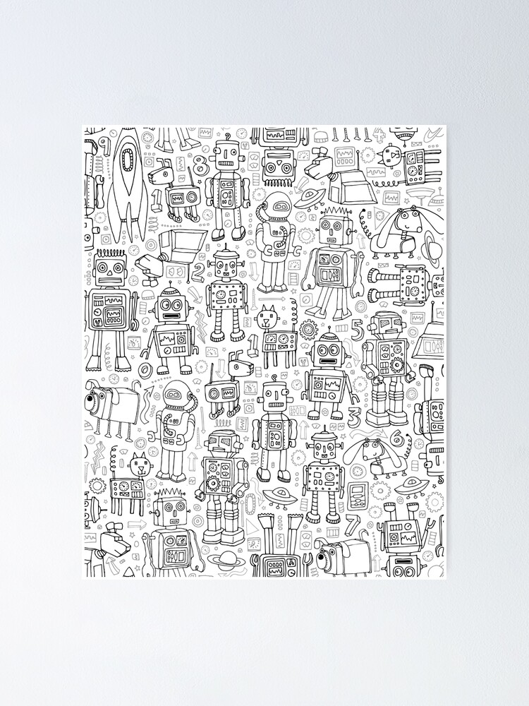 Alternate view of Robot pattern - black and white - fun pattern by Cecca Designs Poster