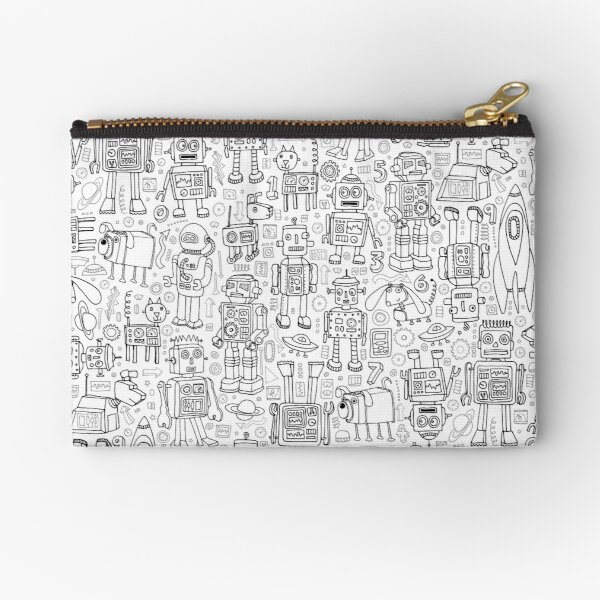 Robot pattern - black and white - fun pattern by Cecca Designs Zipper Pouch