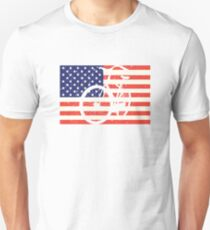 American Flag Bicycle Unisex T-Shirt