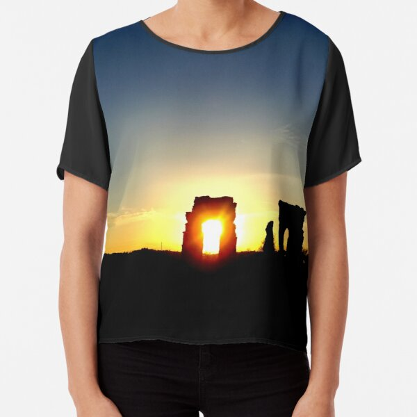 LANDSCAPE SUNSET COLOR PHOTOGRAPHY ITALIAN RUIN ROME Chiffon Top