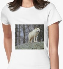Arctic Wolf Watching Women's Fitted T-Shirt