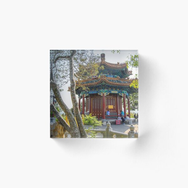 China. Beijing. Jingshan Park. Octagonal Pavilion. Acrylic Block