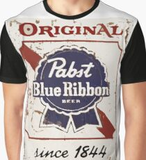 Pabst Blue Ribbon Beer PBR Distressed Logo Graphic T-Shirt